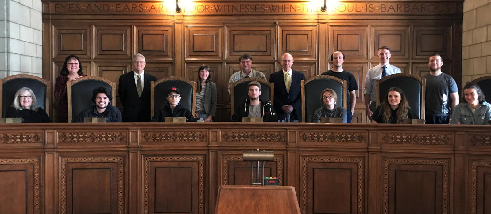 UNL students visit Nebraska Supreme Court as part of a pop-up class on covering the courts offered by UNL College of Journalism and Mass Communications.