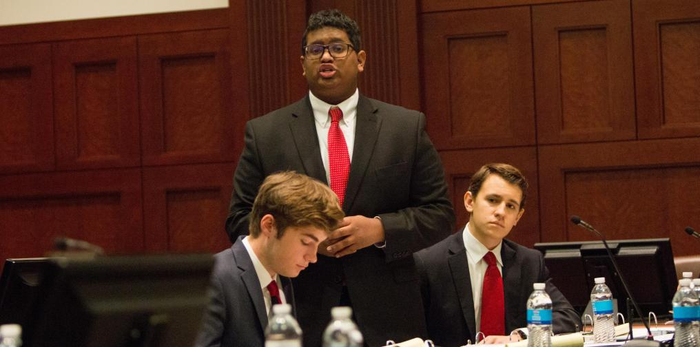 Students compete in the NSBF's Mock Trial Program.