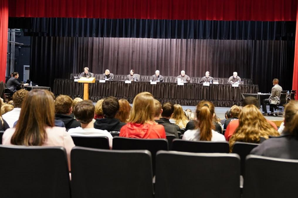 Nebraska Supreme Court Justices listen to the cases.